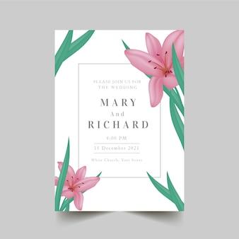 Invitación de boda de lirios reales de color pastel