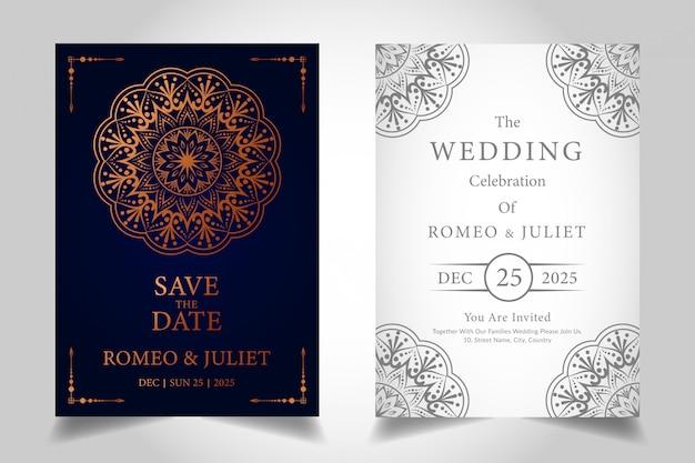 Invitación de boda de lujo con diseño de mandala ornamental en color dorado