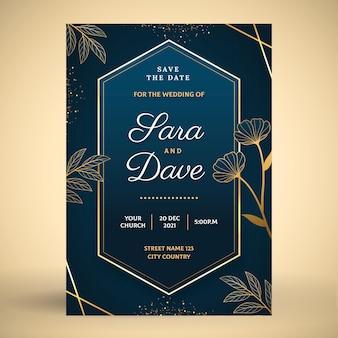 Invitación de boda de lujo dorado degradado