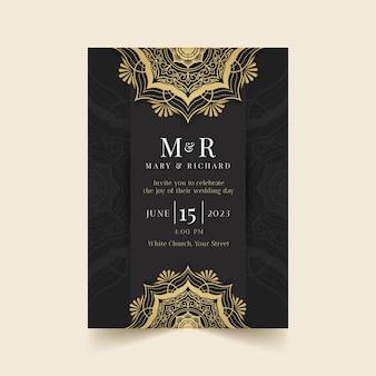 Invitación de boda de lujo dorado realista