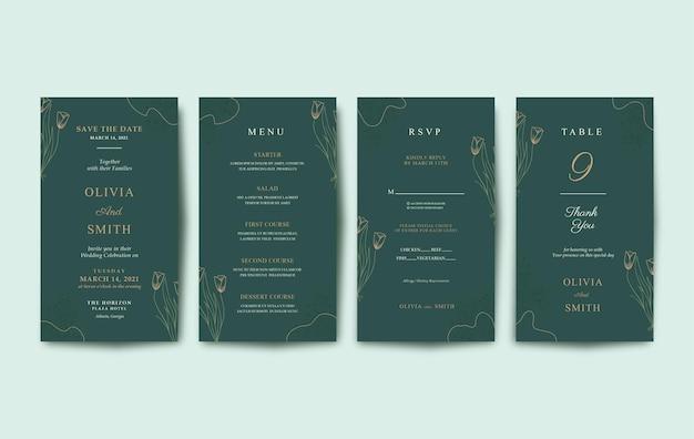Invitación de boda de lujo y hermosa para móvil.