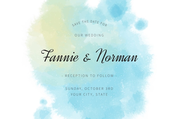 Invitación de boda con manchas de acuarela azul degradado
