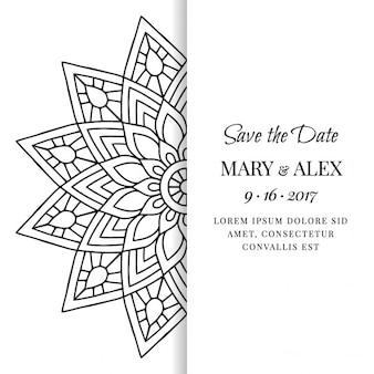 Invitación de boda con un mandala blanco y negro