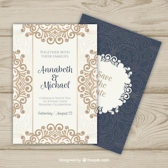 Invitación de boda con mandala dorado