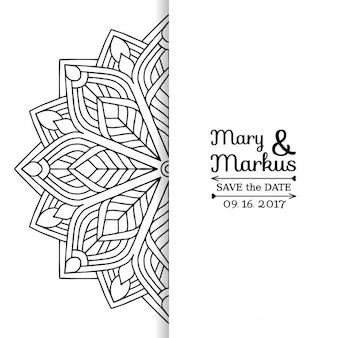 Invitación de boda con un mandala floral blanco y negro