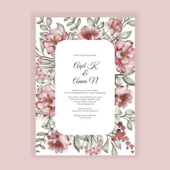 Invitación de boda de marco de acuarela de flor de rosas de borgoña