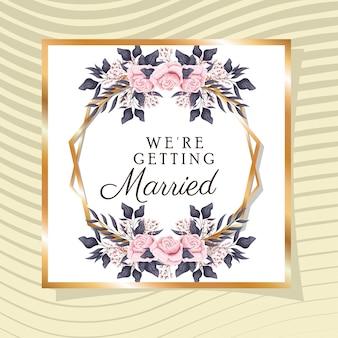 Invitación de boda con marco dorado y flores rosas sobre fondo amarillo