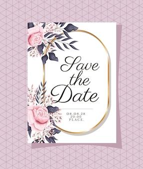 Invitación de boda con marco dorado y flores rosas sobre fondo morado