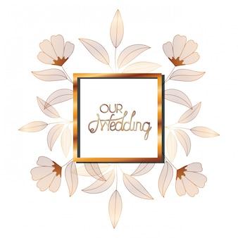 Invitación de boda en marco dorado con flores