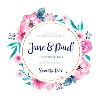 Invitación de boda marco dorado