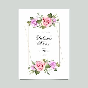 Invitación de boda con marco floral de acuarela.