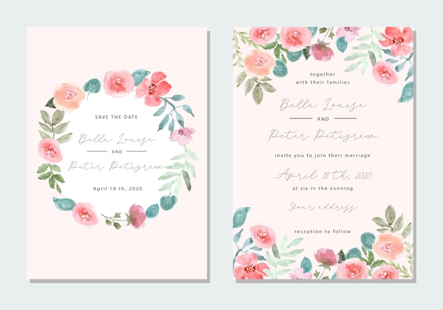 Invitación de boda con marco floral de acuarela