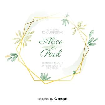 Invitación de boda marco floral acuarela