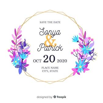 Invitación de boda de marco floral de diseño plano
