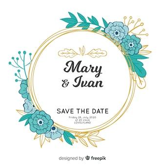 Invitación de boda con marco floral pintada a mano