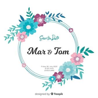Invitación de boda marco floral pintado a mano colorido