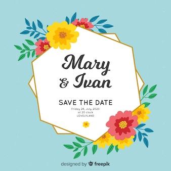 Invitación de boda marco floral pintado a mano