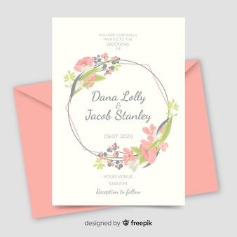 Invitación de boda marco floral rosa con diseño plano