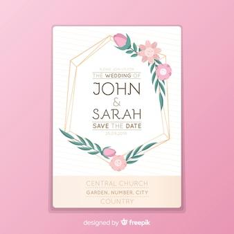 Invitación de boda marco floral rosa en diseño plano