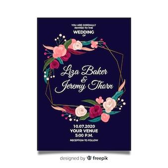 Invitación de boda con marco floral