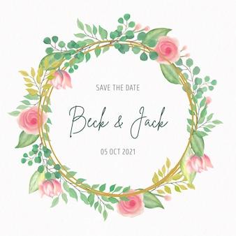 Invitación de boda con marco de flores de acuarela