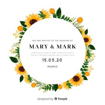 Invitación de boda con marco de girasoles