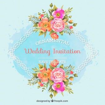 Invitación de boda con marco ornamental y flores de acuarela