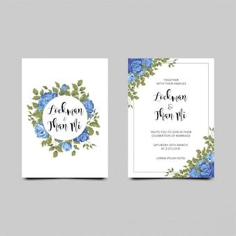 Invitación de boda con un marco de rosas azules.