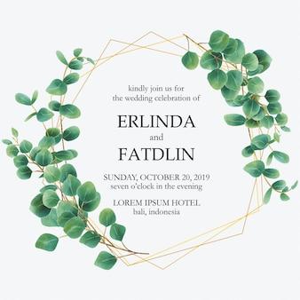 Invitación de boda con marcos de acuarela de hojas de eucalipto