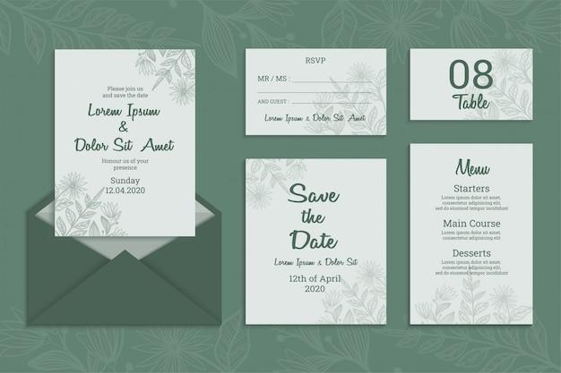 Invitación de boda con menú, número de tabla, rsvp y guardar el diseño de la tarjeta de fecha. elegante ilustración dibujada a mano
