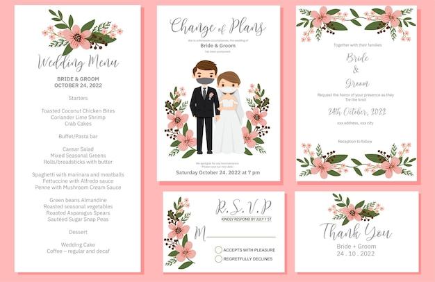 Invitación de boda, menú, rsvp, etiqueta de agradecimiento guardar el diseño de la tarjeta de fecha