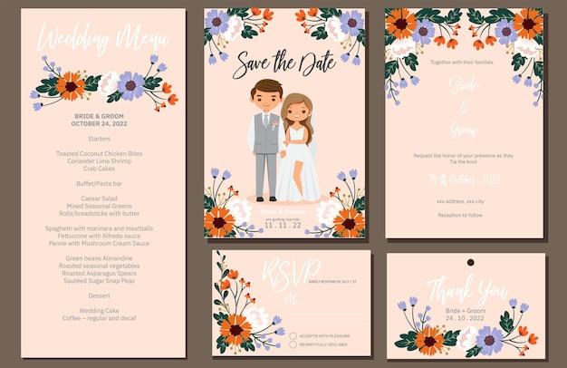 Invitación de boda, menú, rsvp, etiqueta de agradecimiento guardar la tarjeta de fecha