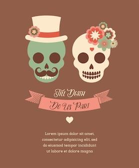 Invitación de boda mexicana con dos calaveras hipster