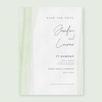 Invitación de boda mínima en acuarela