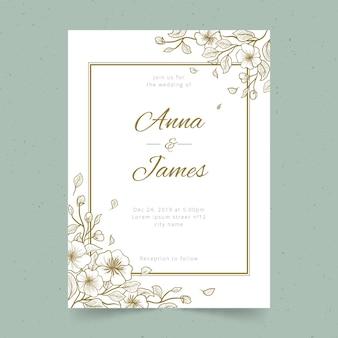 Invitación de boda mínima con decoración floral