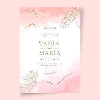 Invitación de boda mínima con detalles dorados