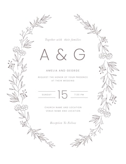 Invitación de boda minimalista dibujada a mano