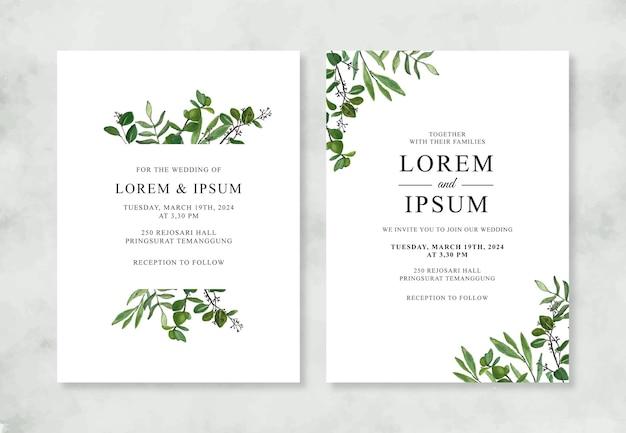 Invitación de boda minimalista con follaje de acuarela pintado a mano