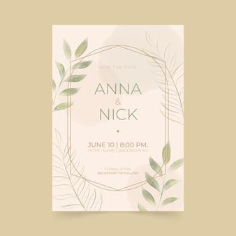 Invitación de boda minimalista pintada a mano.