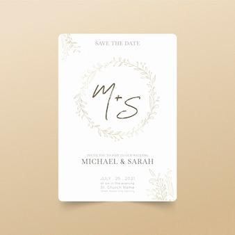 Invitación de boda minimalista plana orgánica