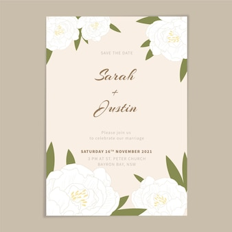 Invitación de boda minimalista plana