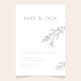 Invitación de boda minimalista simple