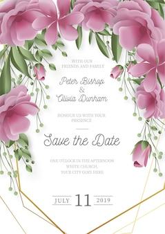 Invitación de boda moderna con flores realistas.