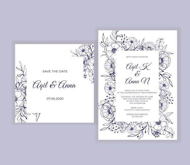 Invitación de boda moderna con hermosa flor de arte lineal