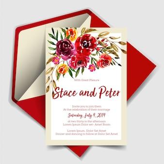 Invitación de boda moderna con rosa roja acuarela.