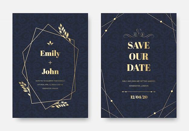 Invitación de boda moderna. tarjeta de invitación elegante, patrón de ornamento de ramitas florales de damasco vintage y conjunto de marco de etiqueta premium