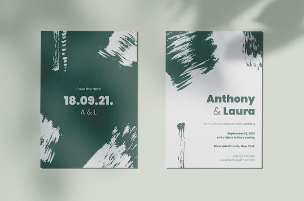 Invitación de boda monocromática pintada abstracta