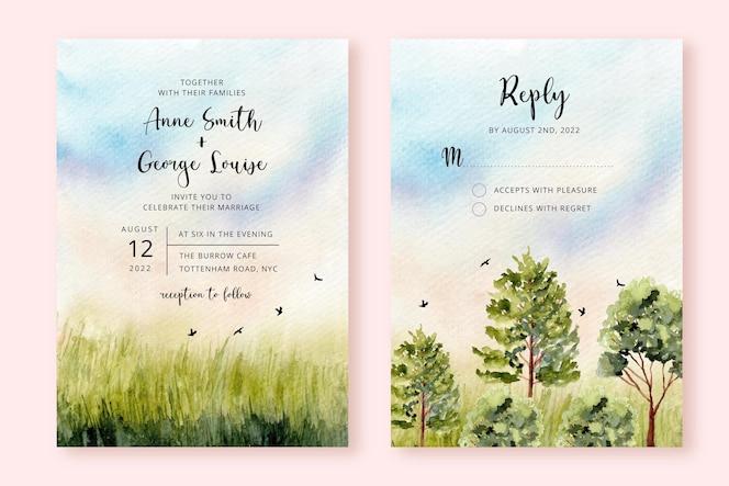 Invitación de boda con naturaleza verde paisaje acuarela