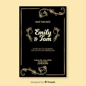 Invitación de boda negra con plantilla retro