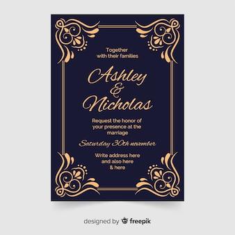 Invitación de boda ornamental en estilo retro